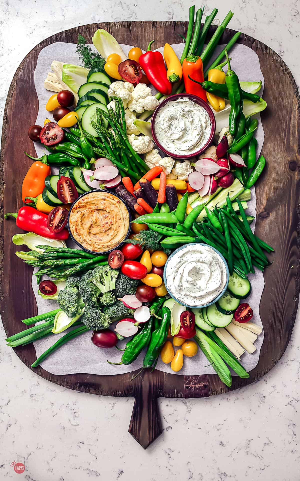serving board with vegetables