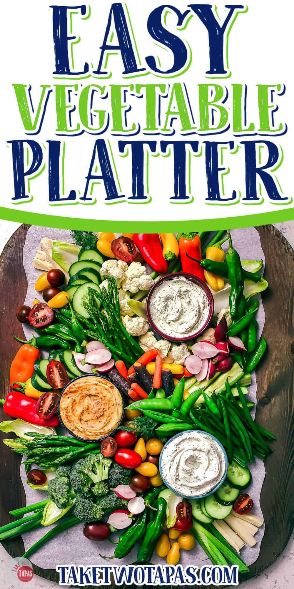 Pinterest image of a vegetable platter